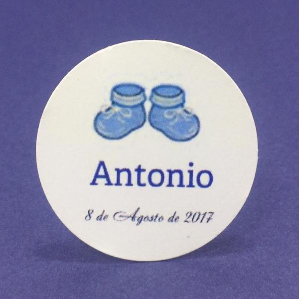 Etiqueta Botitas azules med 4cm diámetro