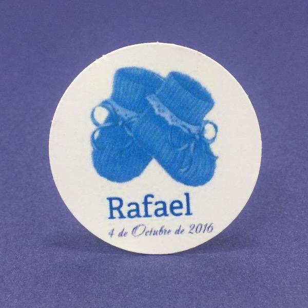 Etiqueta Patucos azules med 4cm diámetro