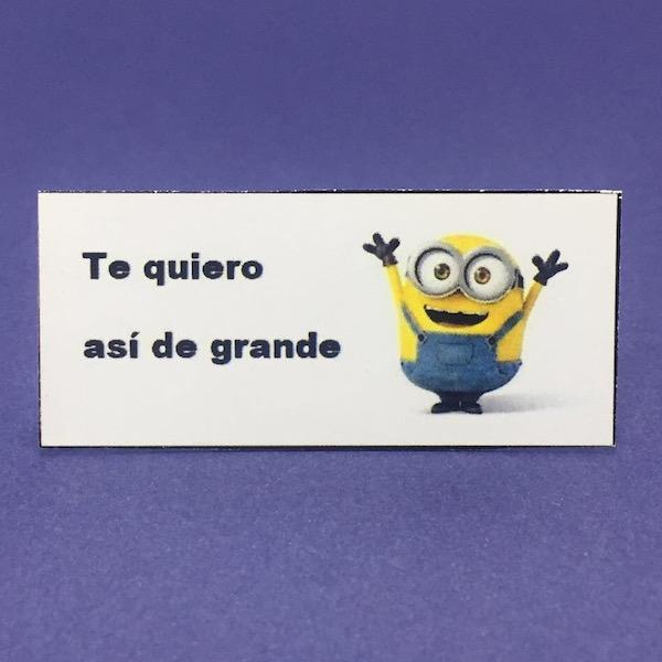 Etiqueta Minion Te Quiero med 5,6cm x 2,7cm