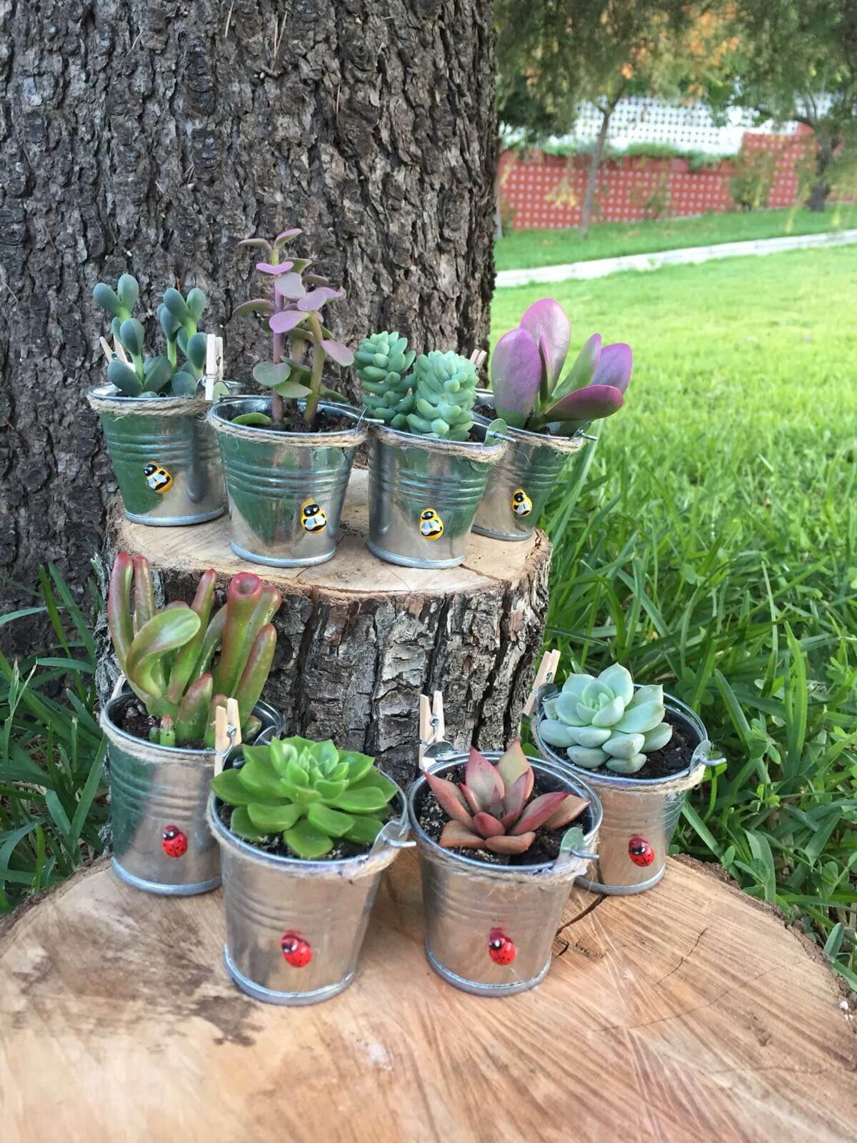 Ideas para decorar un jardín. Cubos rústicos